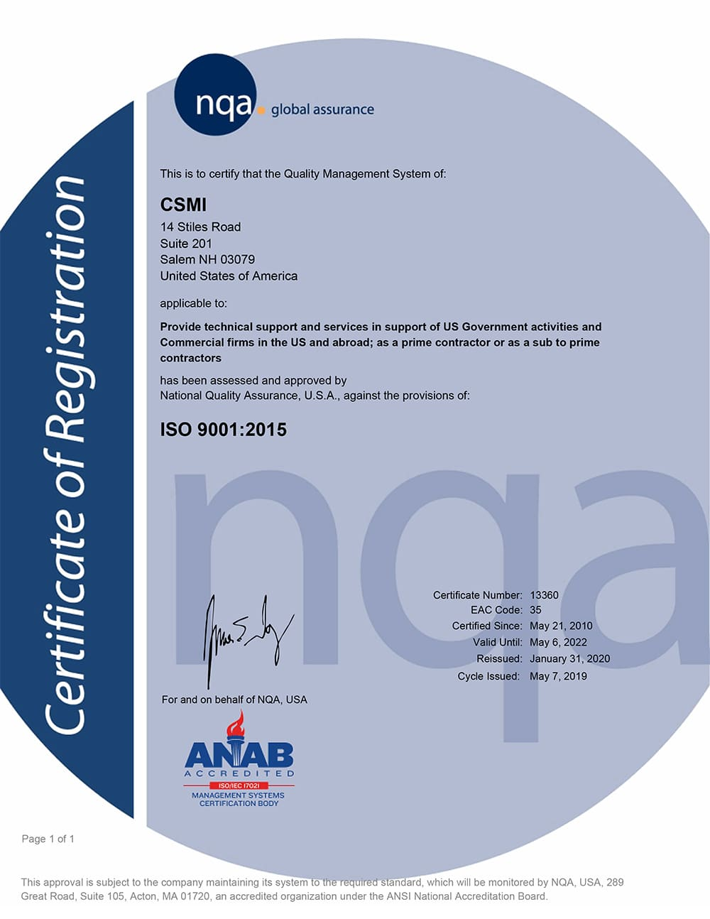 quality policy certification from nqa